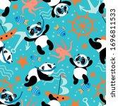 texture with little pandas that ... | Shutterstock .eps vector #1696811533