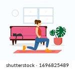 woman home fitness vector...   Shutterstock .eps vector #1696825489