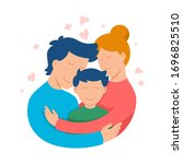 parents with kid  cute loving... | Shutterstock .eps vector #1696825510