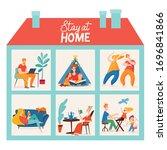 vector quarantine family... | Shutterstock .eps vector #1696841866