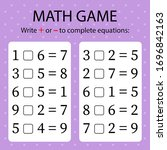 math game. write   or   in... | Shutterstock .eps vector #1696842163