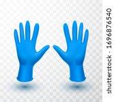 realistic medical latex gloves. ... | Shutterstock .eps vector #1696876540