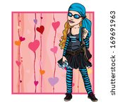 girl teenager in a fashionable... | Shutterstock .eps vector #169691963