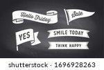 ribbon banner. set of black and ... | Shutterstock . vector #1696928263
