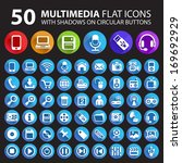 50 multimedia flat icons with... | Shutterstock .eps vector #169692929