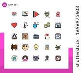 modern set of 25 filled line... | Shutterstock .eps vector #1696975603