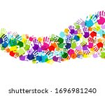 color hand print isolated white ...   Shutterstock .eps vector #1696981240