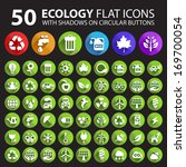 50 ecology flat icons with... | Shutterstock .eps vector #169700054