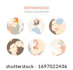 motherhood peach illustrations. ... | Shutterstock . vector #1697022436
