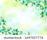 vector frame of green leaves... | Shutterstock .eps vector #1697027776