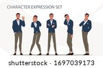 businessman in different... | Shutterstock .eps vector #1697039173