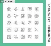 mobile interface line set of 25 ... | Shutterstock .eps vector #1697078809