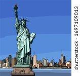 statue of liberty in new york...   Shutterstock .eps vector #1697109013