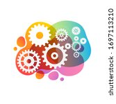 abstract techno gear background ...   Shutterstock .eps vector #1697113210
