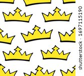 doodle crowns seamless pattern. ... | Shutterstock .eps vector #1697115190