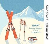 ski winter mountain landscape... | Shutterstock .eps vector #169712999