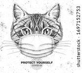 animal cat wearing face medical ... | Shutterstock .eps vector #1697152753