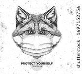 animal fox wearing face medical ... | Shutterstock .eps vector #1697152756