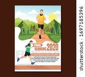 running men and women sports... | Shutterstock .eps vector #1697185396