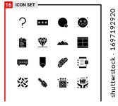 group of 16 solid glyphs signs...