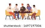 creative business team sitting... | Shutterstock .eps vector #1697197006