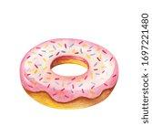 donut watercolor. breakfast... | Shutterstock . vector #1697221480