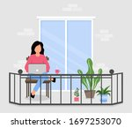 girl works on a laptop while... | Shutterstock .eps vector #1697253070