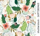 seamless floral pattern.... | Shutterstock .eps vector #1697280463
