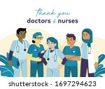 thank you doctor and nurses for ... | Shutterstock .eps vector #1697294623