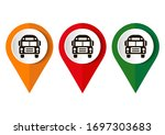 map marker with icon of a bus ... | Shutterstock .eps vector #1697303683