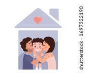 happy family showing love.... | Shutterstock .eps vector #1697322190