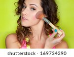 applying make up concept  woman ... | Shutterstock . vector #169734290