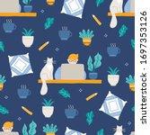 home office seamless pattern...   Shutterstock .eps vector #1697353126