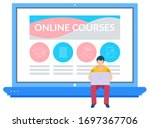 online courses learning with... | Shutterstock .eps vector #1697367706