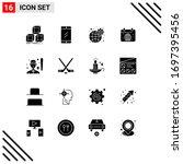 pack of 16 modern solid glyphs...