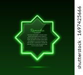 glass banner with neon lights.... | Shutterstock .eps vector #1697425666