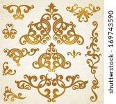 vector set of scrolls and...   Shutterstock .eps vector #169743590