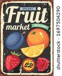 organic fruit market vintage... | Shutterstock .eps vector #1697504290