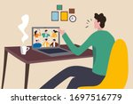 work from home video conference ... | Shutterstock .eps vector #1697516779