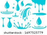 blue set of drops  splash ... | Shutterstock . vector #1697525779