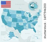 blue green detailed map of usa...   Shutterstock .eps vector #1697546203