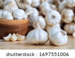 Closeup Of Garlic Bulbs On...