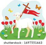 easter lamb with cross.... | Shutterstock .eps vector #1697551663