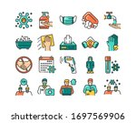 prevent spread coronavirus... | Shutterstock .eps vector #1697569906