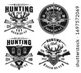 Deer Hunt Set Of Four Vector...
