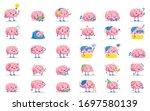 vector cute cartoon pink brains ...   Shutterstock .eps vector #1697580139