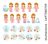 how to wear medical mask.... | Shutterstock .eps vector #1697580709