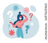 2019 ncov quarantine. sad woman ... | Shutterstock .eps vector #1697625463