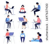 set of people using laptops and ... | Shutterstock .eps vector #1697637430