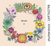 flower wreath. love card.... | Shutterstock .eps vector #169763798